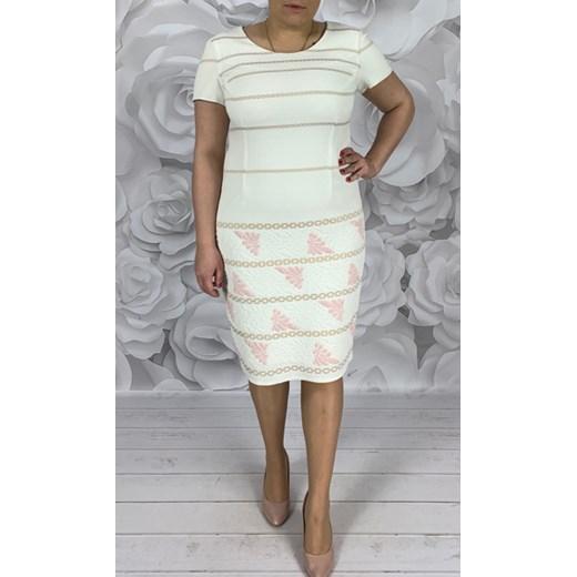 cfcf077981 Sukienka Dorota midi z krótkim rękawem z okrągłym dekoltem w Domodi