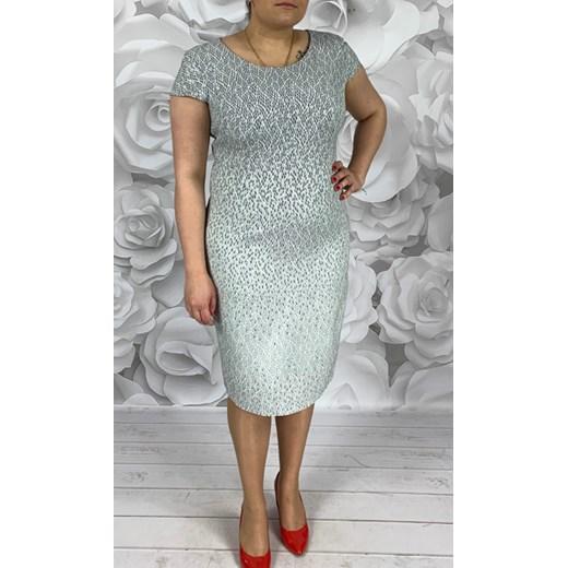 10011ead781dfe Sukienka Dorota bez wzorów midi z krótkim rękawem z okrągłym dekoltem