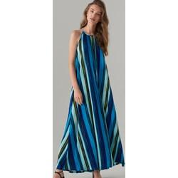 24b469482e Niebieska sukienka Mohito z dekoltem halter maxi