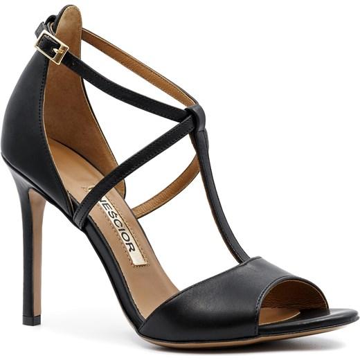 7ba506696cb24 Czarne skórzane sandały na szpilce ze skrzyżowanymi paseczkami 103B Neścior  37 promocyjna cena NESCIOR ...