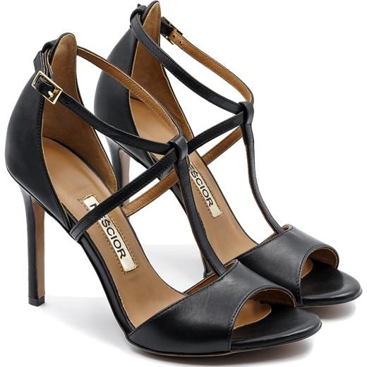 762a24a799b56 ... Czarne skórzane sandały na szpilce ze skrzyżowanymi paseczkami 103B  Neścior 41 promocja NESCIOR ...