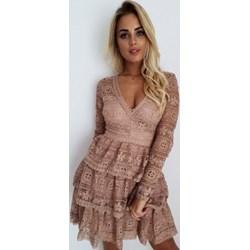 6a5e34bc85 Sukienka w serek z długim rękawem