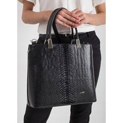 cd139a1706529 Allora. Shopper bag Rovicky bez dodatków czarna ze skóry ekologicznej