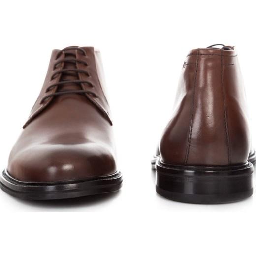 6114dcf8ab919 Brązowe buty zimowe męskie Hugo Boss sznurowane z gumy w Domodi