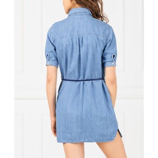 9cede290dc Sukienka Pepe Jeans koszulowa niebieska na spacer z krótkim rękawem ...