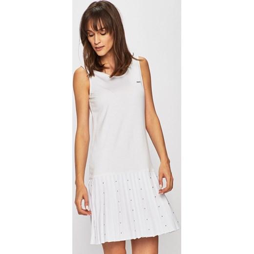 bacaaf67 Liu jo sukienka z okrągłym dekoltem mini biała z poliestru bez rękawów  ołówkowa