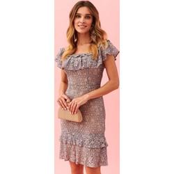a4349824aa Sukienka Top Secret szara z okrągłym dekoltem z odkrytymi ramionami midi
