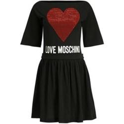 3acba6611f Czarna sukienka Love Moschino z krótkimi rękawami rozkloszowana z dekoltem  w łódkę mini