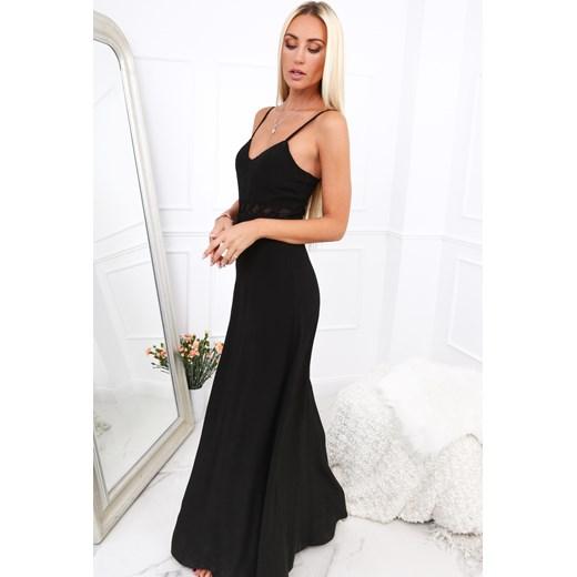 9c5cb0beb8 Długa elegancka sukienka na ramiączkach czarna 9855 fasardi S fasardi.com  ...