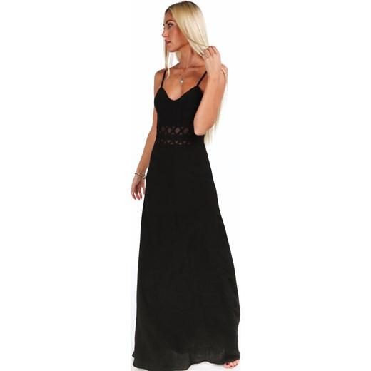 28bad19cf2 ... Długa elegancka sukienka na ramiączkach czarna 9855 fasardi M fasardi.com  ...