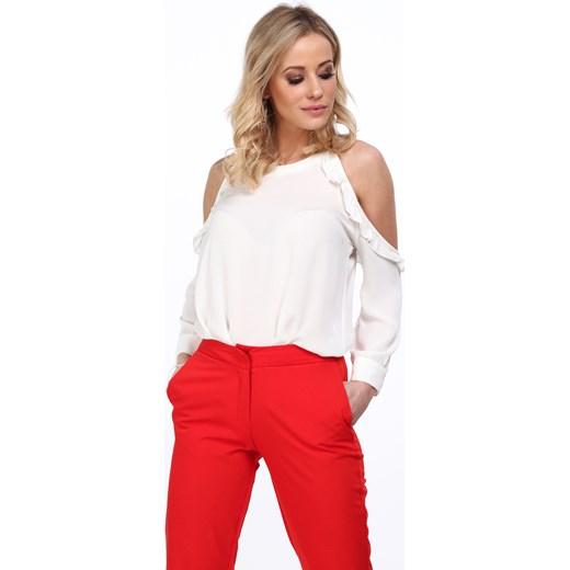 ZMNIEJSZONE O 50% Fasardi bluzka damska bez wzorów z krótkimi rękawami Odzież Damska EO biały Bluzki damskie ACYX