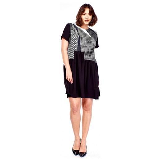 c889810a77 Sukienka Brenda do pracy z krótkimi rękawami z okrągłym dekoltem dla  puszystych