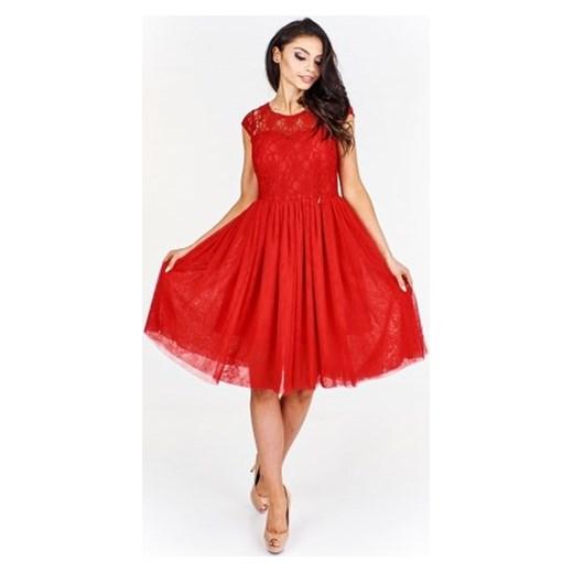 6315b60f22 Sukienka czerwona Efect na bal na sylwestra tiulowa elegancka midi w ...