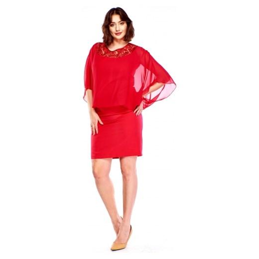 5f135303e1 Sukienka Roxana na spotkanie biznesowe ołówkowa z okrągłym dekoltem z  tkaniny