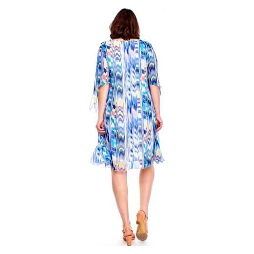 7308ec5496 Sukienka Roxana z okrągłym dekoltem z tkaniny midi w Domodi