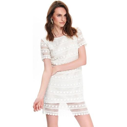 3de551e0 Sukienka biała Top Secret z okrągłym dekoltem na co dzień trapezowa mini