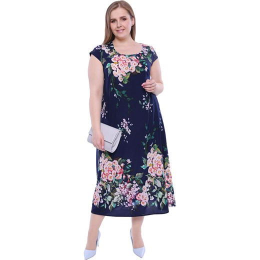 93015322f4ec77 Długa lekka sukienka w pastelowe stokrotki 46 Modne Duże Rozmiary
