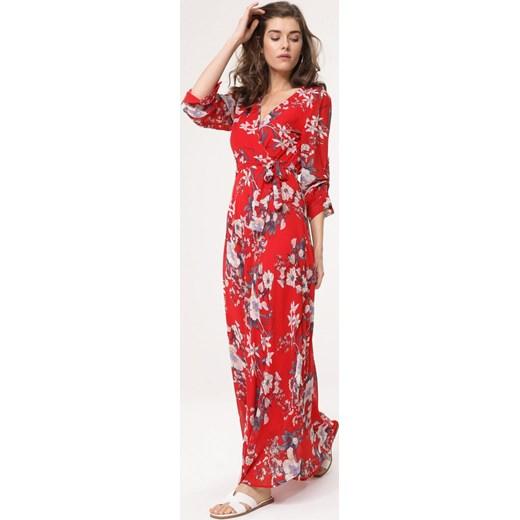 364f4925f6 Sukienka Born2be rozkloszowana w kwiaty maxi w Domodi