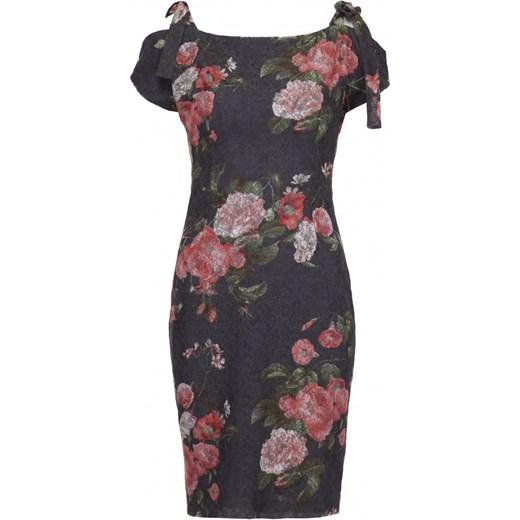 4e2c24e186 ... Sukienka Vissavi midi prosta wielokolorowa casualowa w kwiaty ...