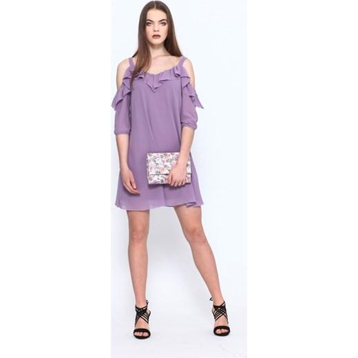 7075b2d806 Sukienka Vissavi z szyfonu z dekoltem typu hiszpanka luźna w Domodi