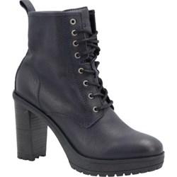 aa1dfd46ecf7f Botki Tommy Jeans casualowe na obcasie czarne skórzane bez wzorów