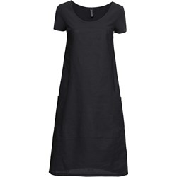 c6eb8674 Sukienka Bonprix trapezowa czarna na co dzień lniana midi