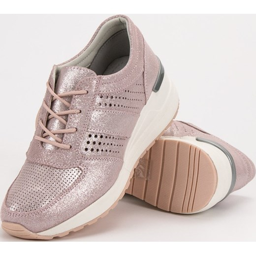 6d59b3f7 ... Sneakersy damskie CzasNaButy sznurowane ze skóry bez wzorów ...