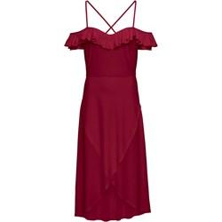56ce981738 Sukienka Bonprix z dekoltem typu hiszpanka na studniówkę bez wzorów midi  asymetryczna