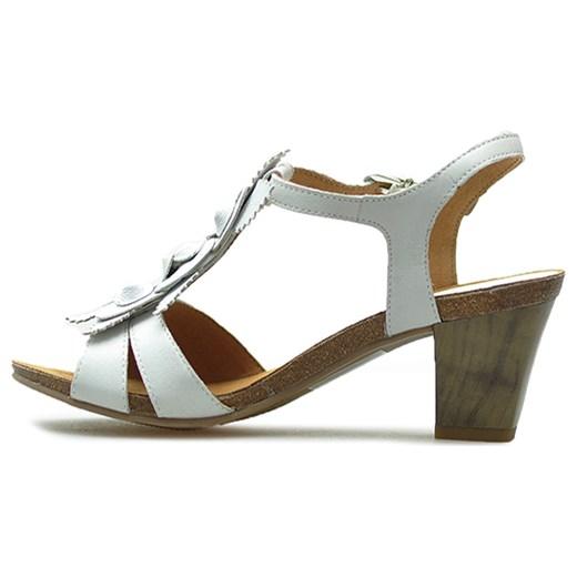 Caprice sandały damskie na średnim obcasie białe skórzane na