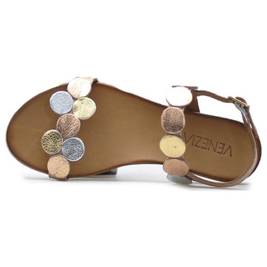 dobra jakość Sandały damskie Venezia casual gładkie z zamszu