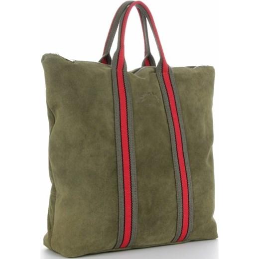 231a3c6d950c2a Shopper bag zielona Vittoria Gotti duża zamszowa bez dodatków w Domodi