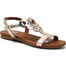 833f7fbeb4b741 Złote sandały damskie Venezia bez wzorów casualowe