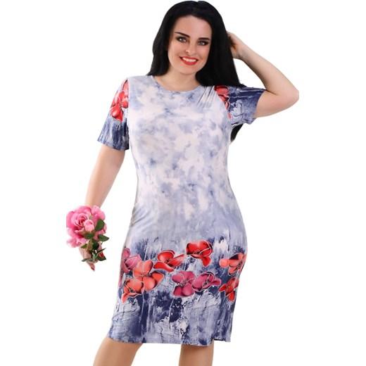 9f76c4d101 Sukienka Lamar dla puszystych z elastanu midi z okrągłym dekoltem casualowa  na spacer