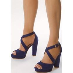 c5f5557cfdf68 Niebieskie sandały damskie Born2be na lato na słupku eleganckie