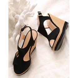66d75ce420974 Czarne sandały damskie Born2be bez wzorów