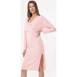 5108540169 Sukienka Born2be kopertowa midi z długim rękawem gładka