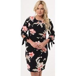 6a50de4268 Sukienka czarna Born2be w kwiaty z długim rękawem tkaninowa