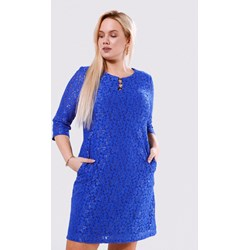 039f920ab1 Sukienka Born2be niebieska z długim rękawem prosta