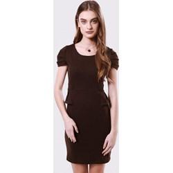 38af7bec86 Sukienka Born2be z krótkim rękawem dopasowana mini bez wzorów