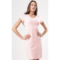 3bc4007bbd Sukienka Born2be różowa z krótkim rękawem prosta na co dzień