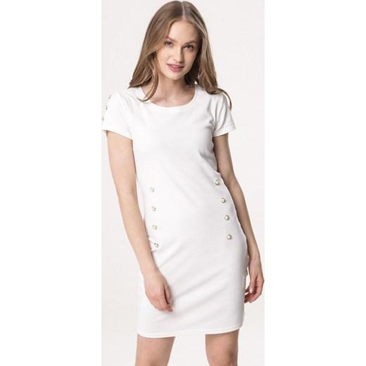 9f87247213 Sukienka Born2be dopasowana biała bez wzorów z okrągłym dekoltem na co  dzień ...