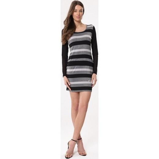 beae744eca Born2be sukienka dzienna z okrągłym dekoltem z długimi rękawami szara casual   Sukienka Born2be mini dopasowana w paski  Sukienka Born2be dopasowana z ...
