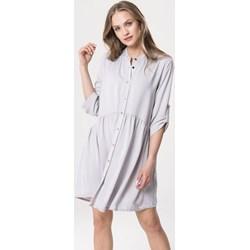 76f8a23673 Sukienka Born2be beżowa na uczelnię z długim rękawem mini trapezowa bez  wzorów
