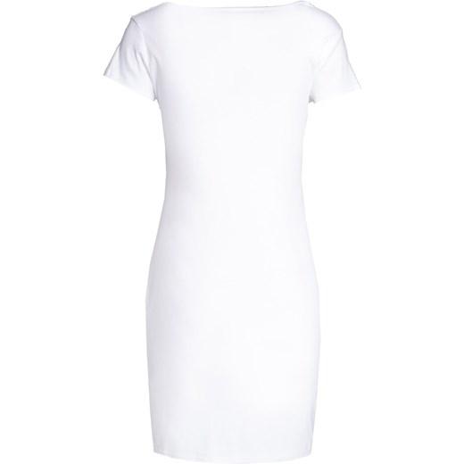 bf70c0b763 Biała sukienka Born2be dopasowana  Sukienka Born2be midi z krótkim rękawem  z okrągłym dekoltem casual ...