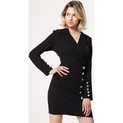 312642cbc8 Born2be sukienka z dekoltem v czarna z długim rękawem bez wzorów
