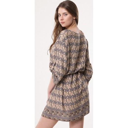 4eb7303191 ... Sukienka Born2be na wiosnę w abstrakcyjne wzory z długim rękawem mini  ...