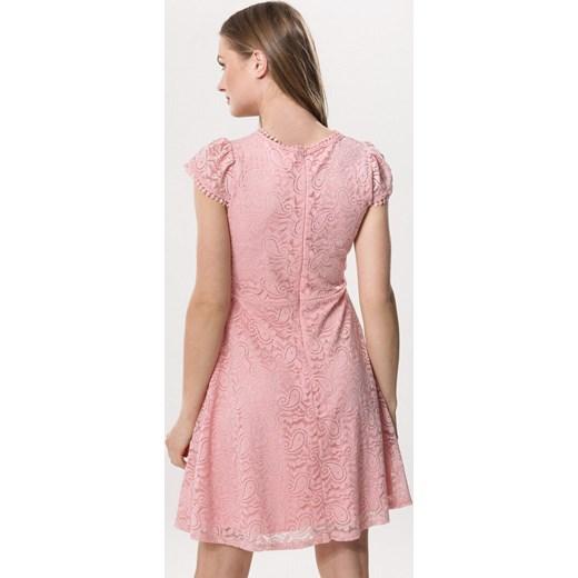 6aa4bda2cb ... Sukienka Born2be z krótkimi rękawami na urodziny z okrągłym dekoltem ...