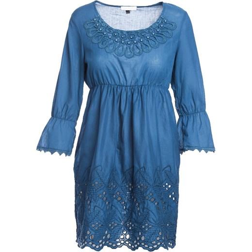 ab31e147db ... Sukienka niebieska Born2be z okrągłym dekoltem oversize owa z długim  rękawem mini