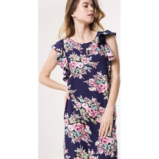 37e4f853a7 ... Sukienka Born2be w kwiaty z krótkim rękawem na spacer dopasowana mini  ...