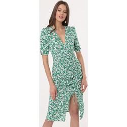 52d5314e12 Sukienka Born2be zielona z długim rękawem casual